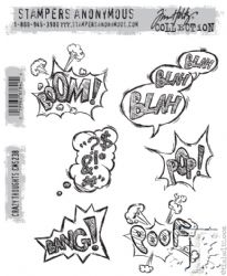CMS238 Stampers Anonymous Tim Holtz Cling Mounted Stamp Set -  Crazy Thoughts Stamp Set